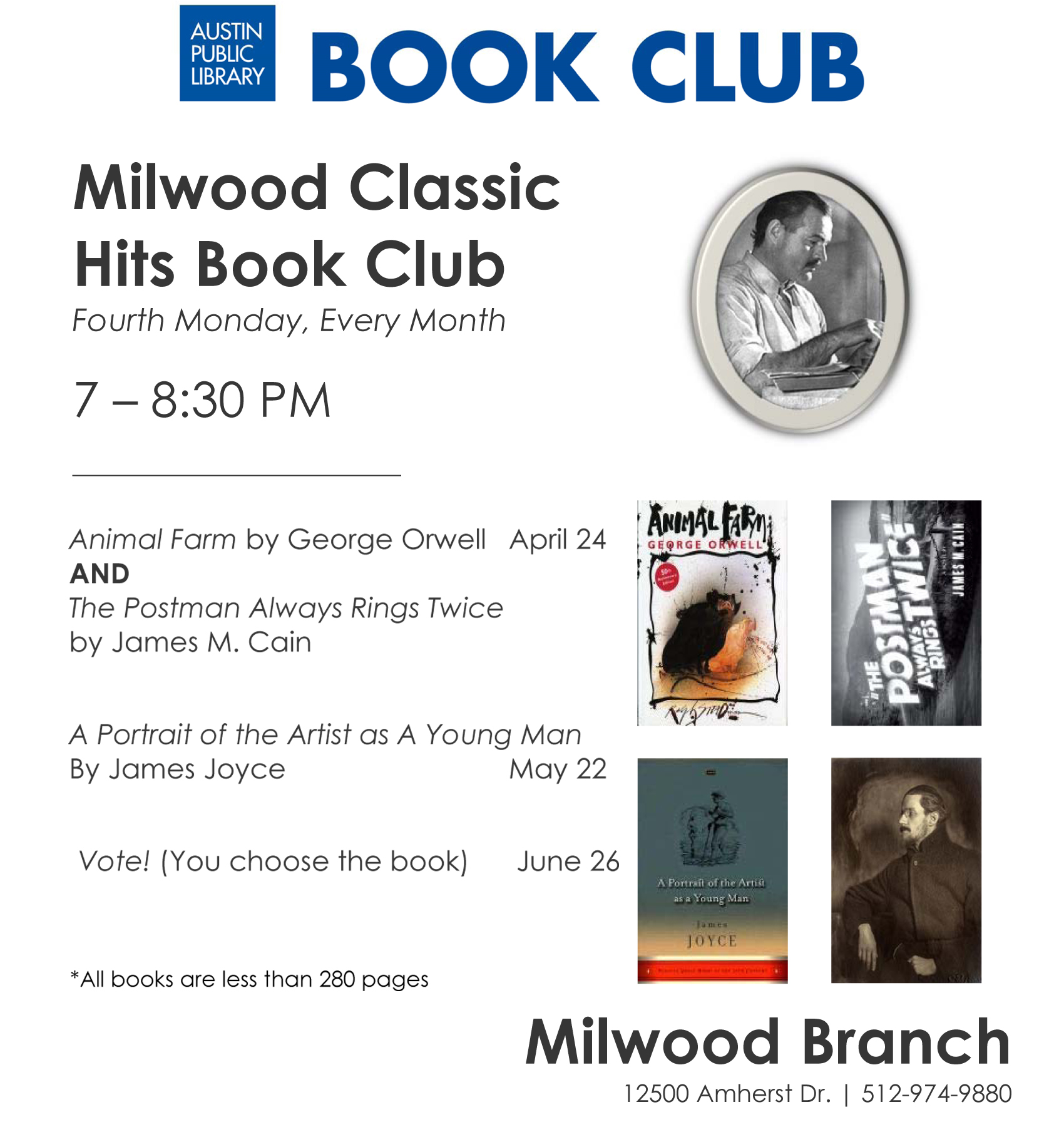 Milwood s classic book club april 24 7 8 30pm at for Classic club music